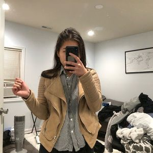 Jackets & Blazers - Faux Suede Leather Motor Jacket Nude/Tan six Small
